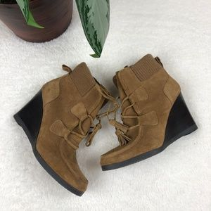 Franco Sarto Westerly Suede Leather Wedge Booties